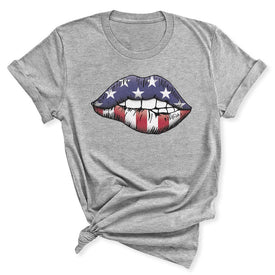 Patriotic Lips Women's T-Shirt in Athletic Heather