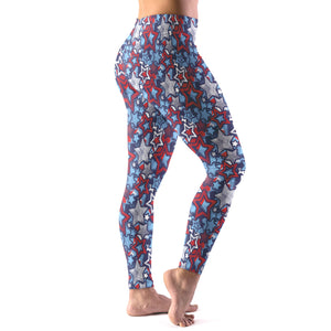 Patriotic Stars Pattern Women's Leggings Right Side Model