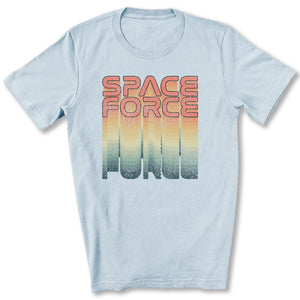 Rainbow Space Force T-Shirt in Light Blue