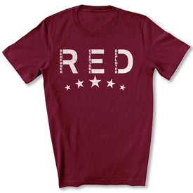 RED Friday with Stars T-Shirt in Maroon