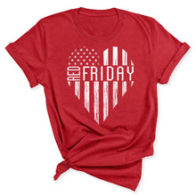Load image into Gallery viewer, White RED Friday Heart Women's T-Shirt in Canvas Red
