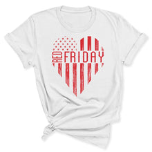 Load image into Gallery viewer, White RED Friday Heart Women's T-Shirt in White
