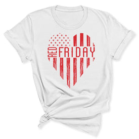 White RED Friday Heart Women's T-Shirt in White