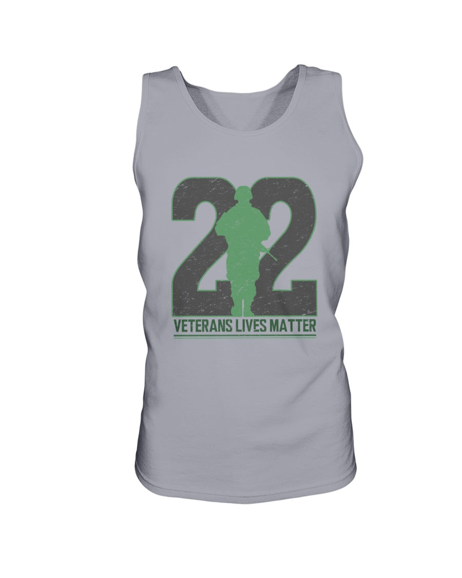 Twenty-Two Lives Matter Bro Tank in Sports Grey