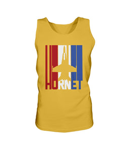 Red White and Blue F-18 Hornet Bro Tank in Gold