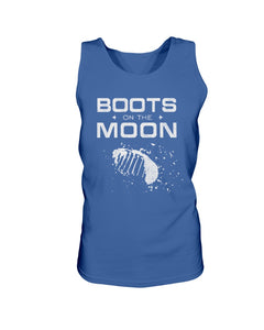 Boots on the Moon with Footprint Bro Tank in Royal Blue