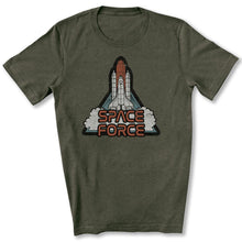 Load image into Gallery viewer, Retro Rocket: Space Force T-Shirt in Heather Military Green