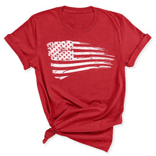 Load image into Gallery viewer, Distressed US Flag Women's T-Shirt in Canvas Red