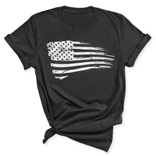 Load image into Gallery viewer, Distressed US Flag Women's T-Shirt in Dark Grey