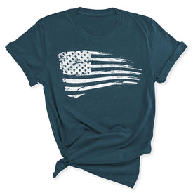 Distressed US Flag Women's T-Shirt in Deep Teal