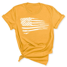 Load image into Gallery viewer, Distressed US Flag Women's T-Shirt in Gold