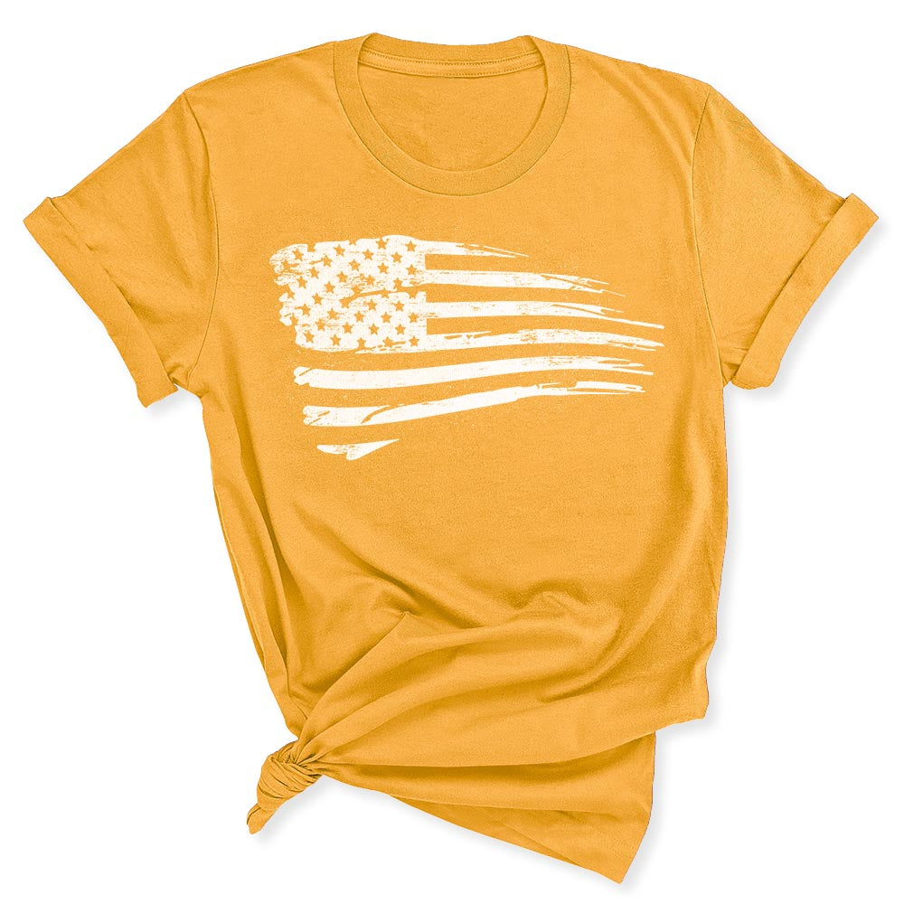 Distressed US Flag Women's T-Shirt in Gold