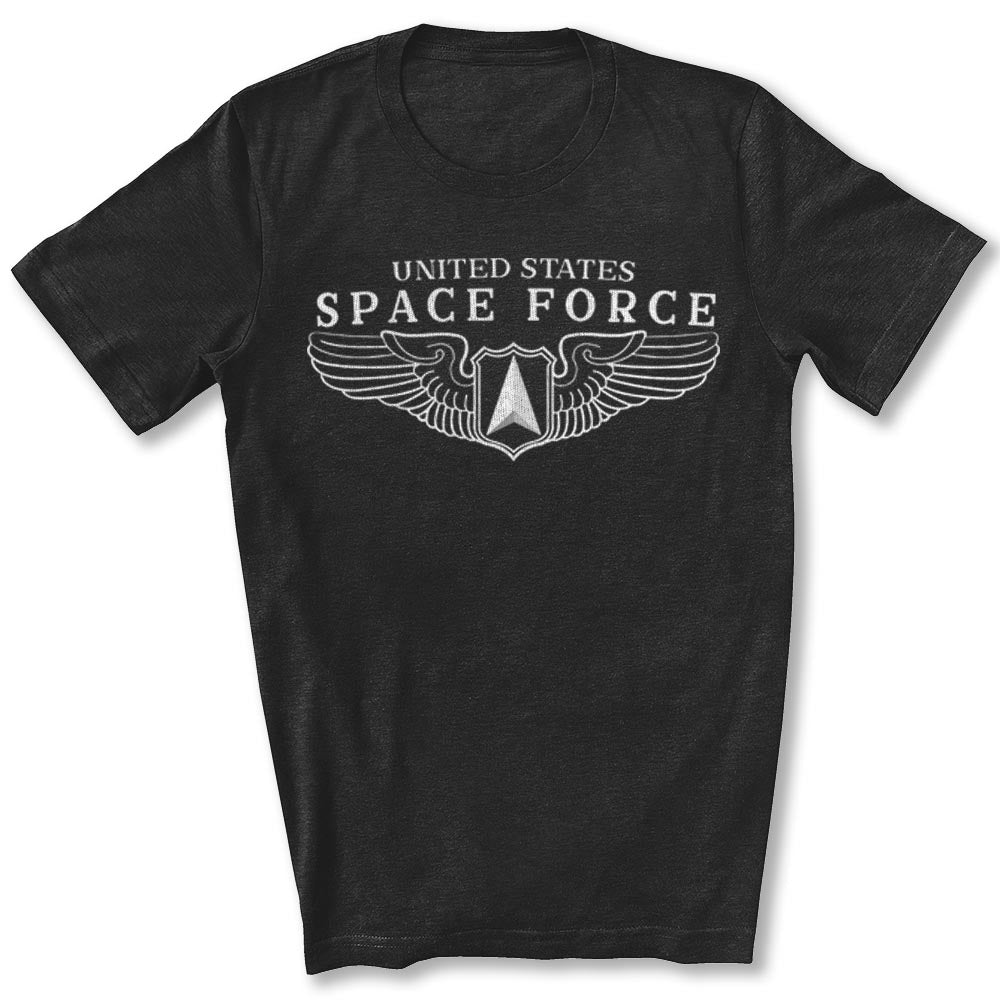 Space Force Wings T-Shirt in Black Heather