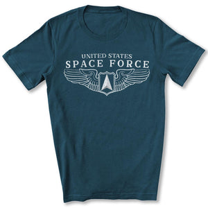 Space Force Wings T-Shirt in Deep Teal