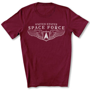 Space Force Wings T-Shirt in Maroon