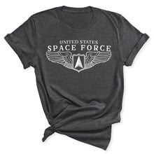 Load image into Gallery viewer, Space Force Wings Women's T-Shirt in Dark Grey Heather