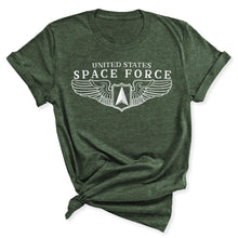 Load image into Gallery viewer, Space Force Wings Women's T-Shirt in Heather Military Green