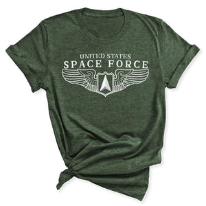 Space Force Wings Women's T-Shirt in Heather Military Green