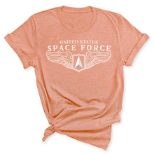 Load image into Gallery viewer, Space Force Wings Women's T-Shirt in Heather Prism Sunset
