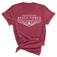 Load image into Gallery viewer, Space Force Wings Women's T-Shirt in Heather Raspberry