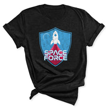 Load image into Gallery viewer, Space Force Blast Off Women's T-Shirt in Heather Black
