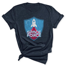 Load image into Gallery viewer, Space Force Blast Off Women's T-Shirt in Heather Midnight Navy