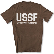 Load image into Gallery viewer, USSF Space Force T-Shirt in Heather Brown