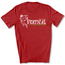 Load image into Gallery viewer, Vertical Jigs and Lures Logo T-Shirt in Canvas Red