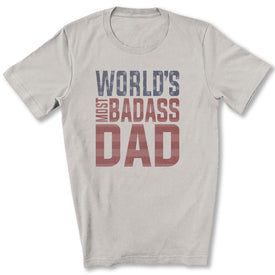World's Most Badass Dad T-Shirt in Silver