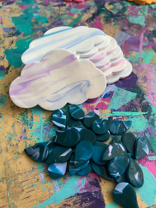 Sky Shapes polymer clay earring drop coming soon
