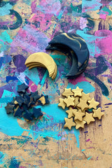 Moons and stars polymer clay earrings