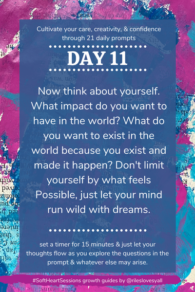 Create your new year journal prompts - Now think about yourself. What impact do you want to have in the world? What do you want to exist in the world because you exist and made it happen? Don't limit yourself by what feels Possible, just let your mind run wild with dreams.