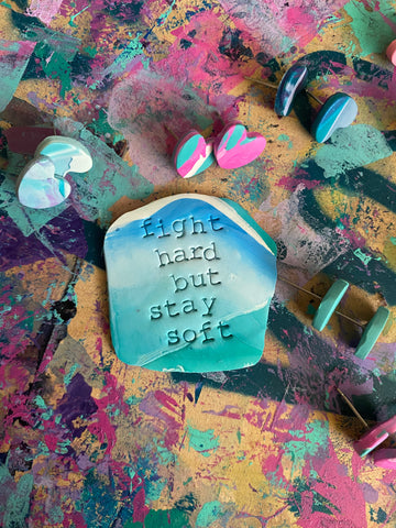 Fight hard but stay soft talisman pendant necklace