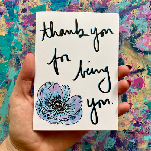 thank you for being you - floral thank you card