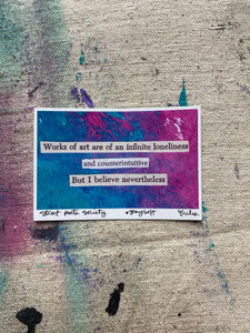 Works of art - pink and blue collage poem sticker