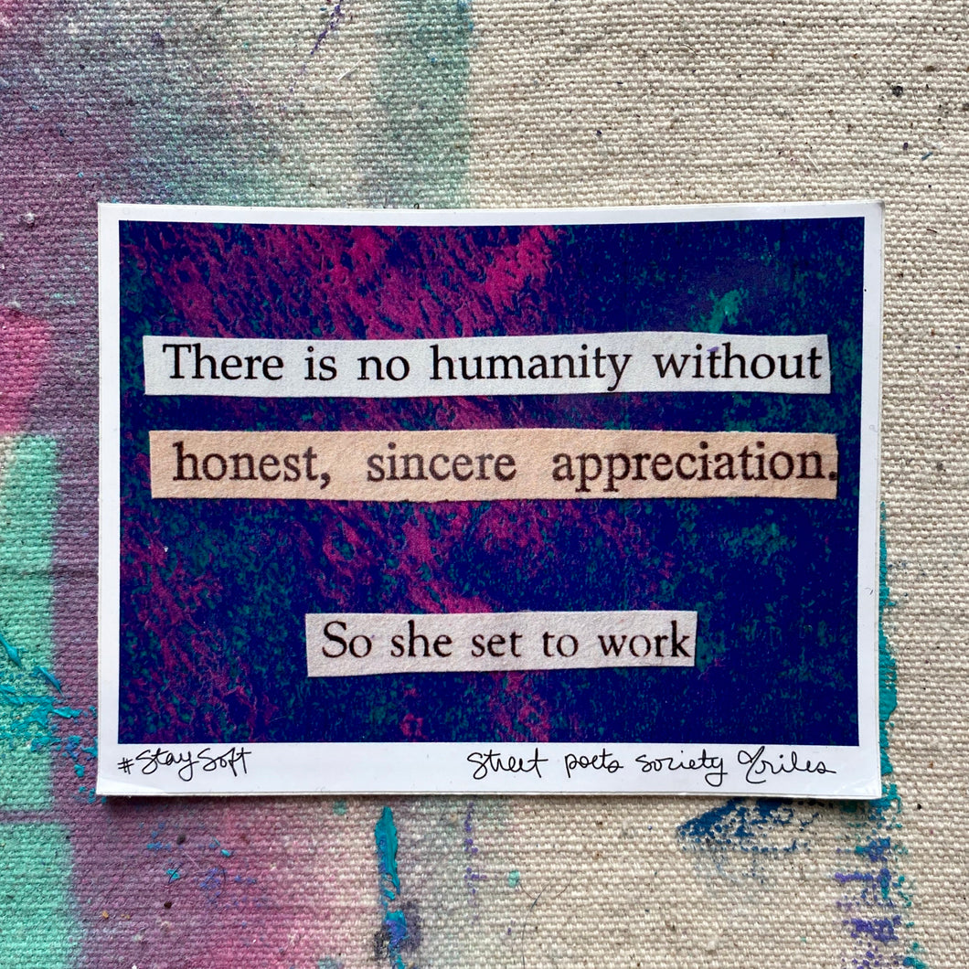 Appreciation - Collage Poem Sticker