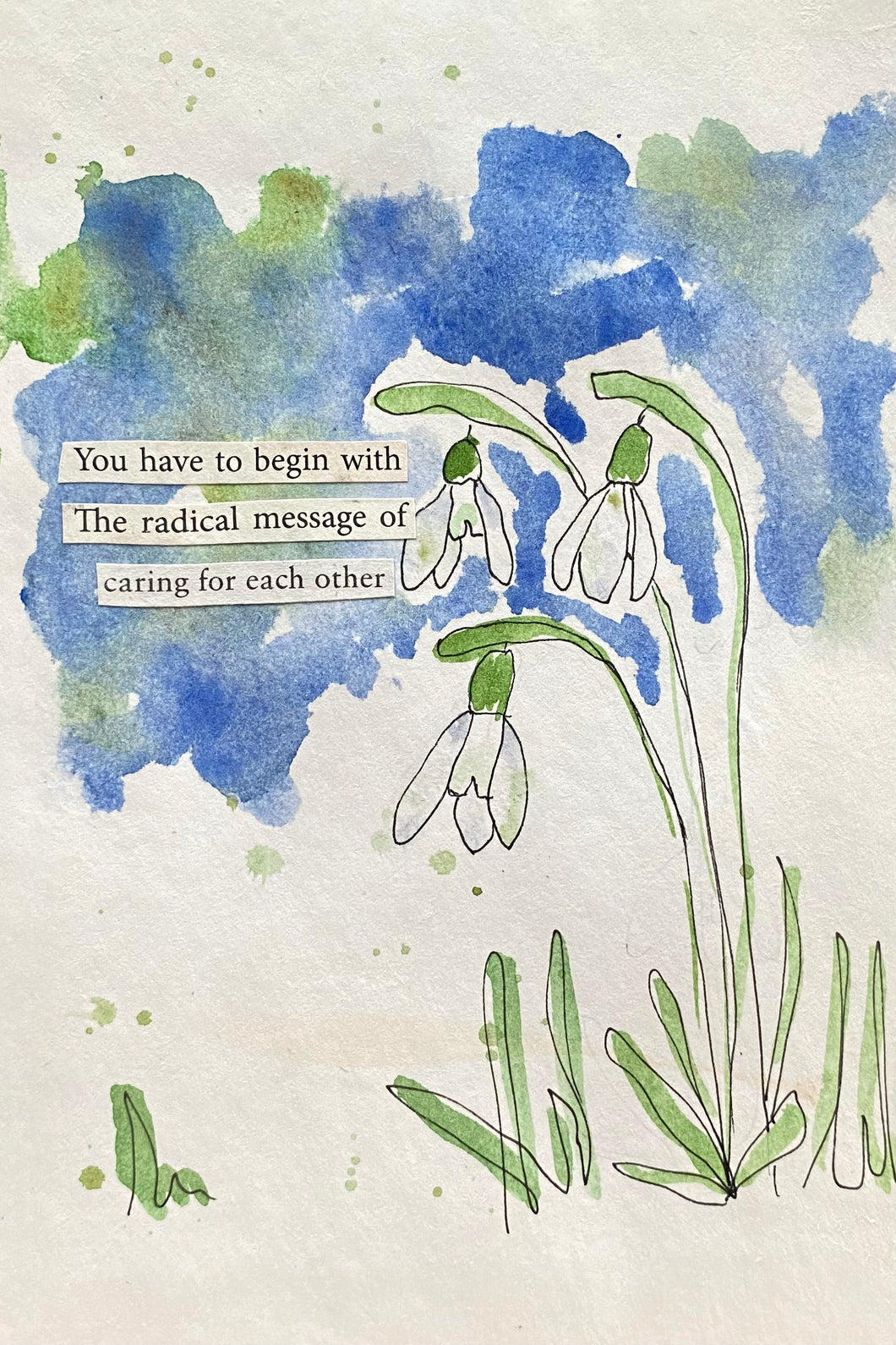 Snowdrop Series - Caring for each other - Watercolor poem