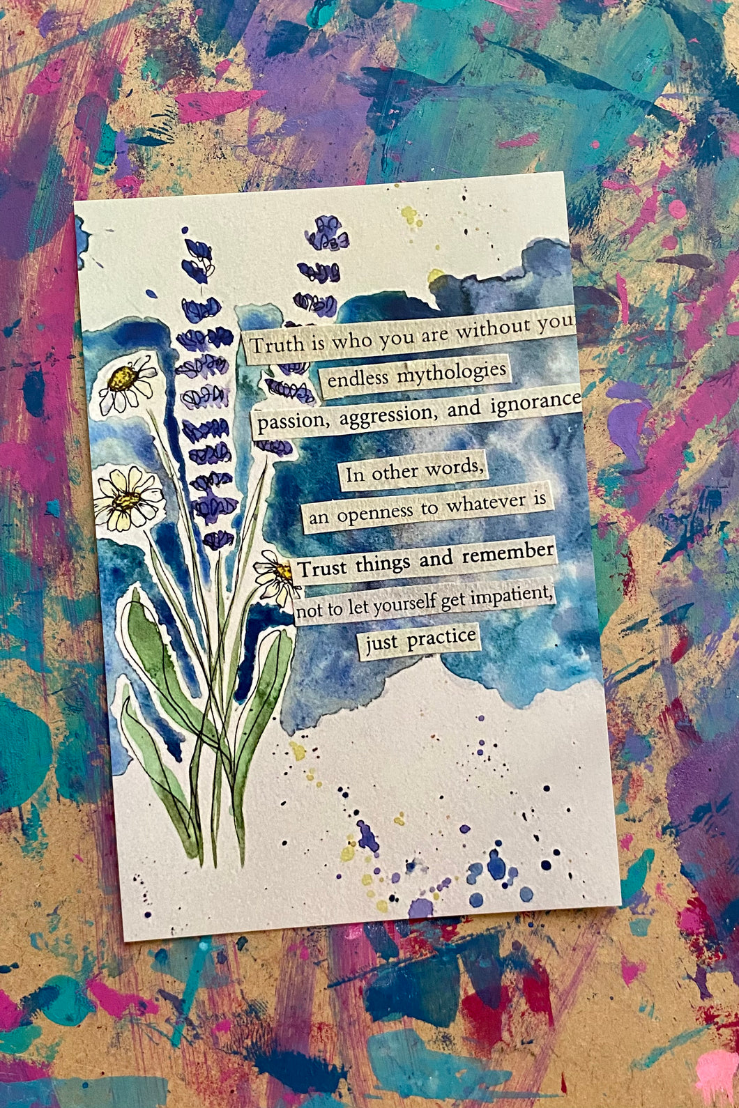 Just practice - Watercolor Floral Postcard - 4