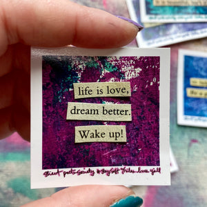 wake up - collage poem sticker