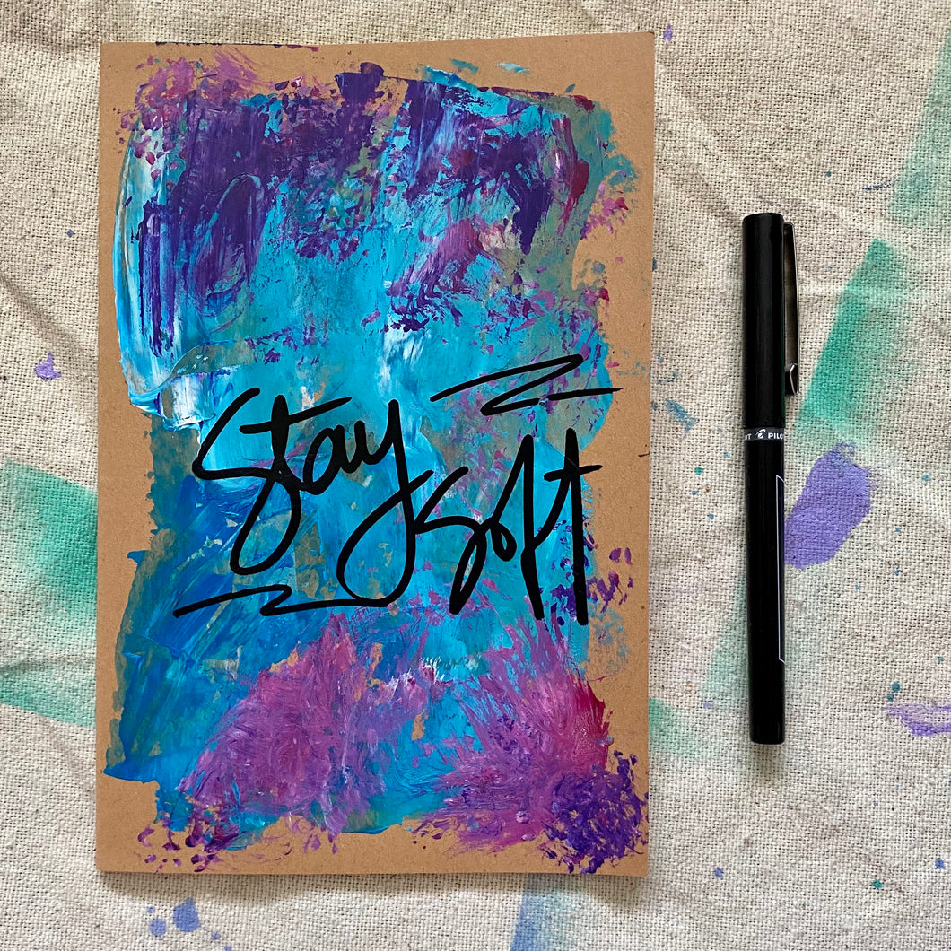 hand painted notebook - lined - stay soft