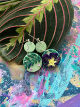 Load image into Gallery viewer, Purple mint floral earrings
