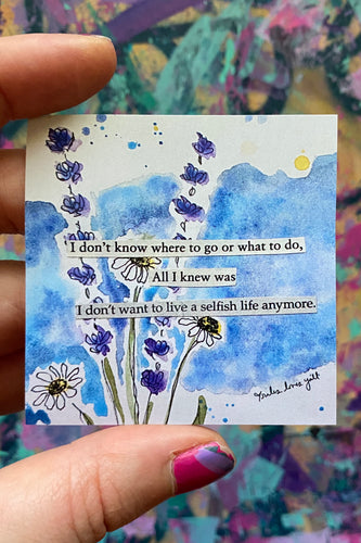 Selfish life - Floral Watercolor sticker