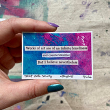 Load image into Gallery viewer, Works of art - pink and blue collage poem sticker