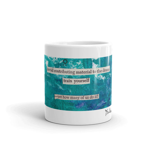 avoid the drama - collage poetry mug - art gift