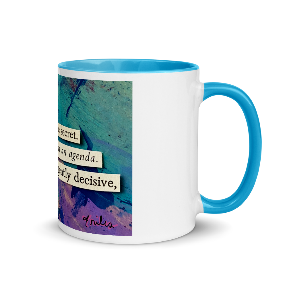 here is the secret (with some secret blue in the mug!)
