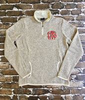 Monogrammed Heathered Fleece Pullover Sweater, Monogram Quarter Zip Pullover, Monogrammed gifts, Valentines gifts - PoshBoutiqueInc