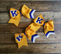 Custom Cheer Bows, School Lettering, Monogrammed, Black, Gold, Cheer Camp, Monogram Cheer Bow, Customized, Personalized Team Cheer bows - PoshBoutiqueInc