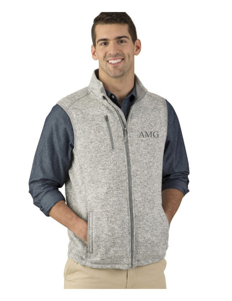 Monogrammed Vest, Monogram Vest, Charles River Apparel Men's Pacific Heathered Vest, His and Hers, Honeymoon, Gift for him - PoshBoutiqueInc
