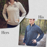 Men's Monogrammed Quarter Zip Sweater - Charles River Apparel - Monogram Quarter Zip Sweater - Heathered Fleece Pullover - PoshBoutiqueInc