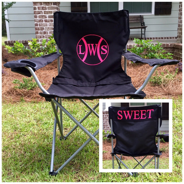 Monogrammed Chair, Personalized Chairs, Custom Coach's chair, Baseball game chair, Monogrammed Chairs, Polyester Denier Folding Chair - PoshBoutiqueInc